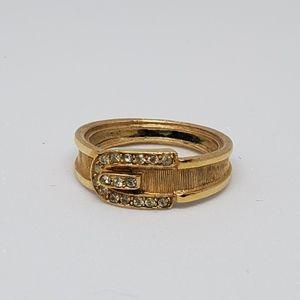 Vintage Avon Rhinestone Belt and Buckle Ring
